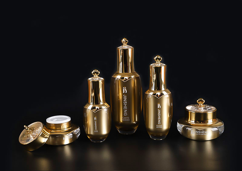 New design  plastic gold cosmetic packaging luxury